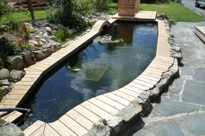 Teich mit Holzsteg