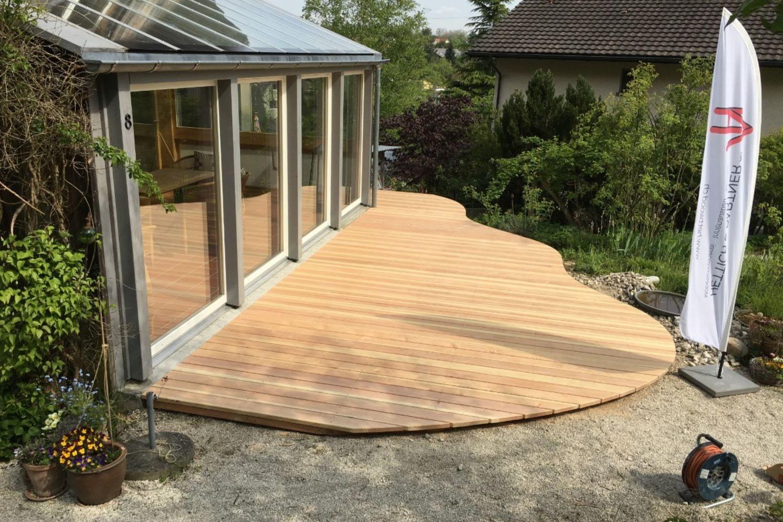 Terrassenholzboden welcher von Hettich & Parter gebaut wurde